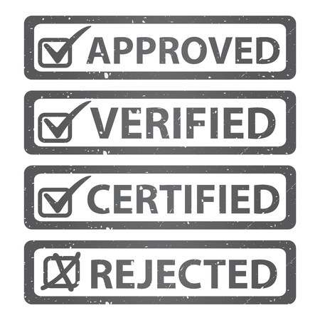 verified: Black Grunge Glossy Style Approved, Verified, Certified and Rejected Icon Isolated on White Background