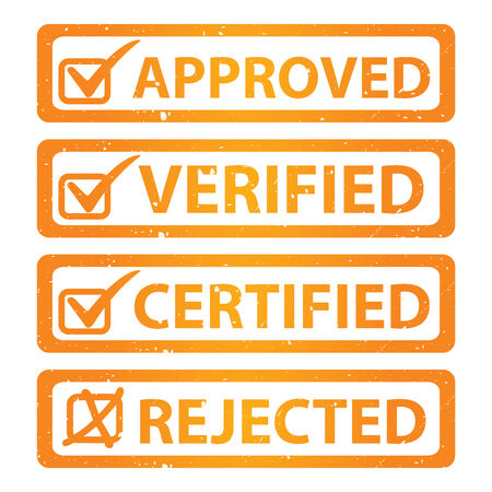 verified: Orange Grunge Glossy Style Approved, Verified, Certified and Rejected Icon Isolated on White Background