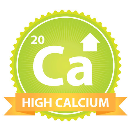 High Calcium Ribbon on Green Badge With High Calcium Sign Isolated on White Background photo
