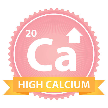 High Calcium Ribbon on Pink Badge With High Calcium Sign Isolated on White Background photo