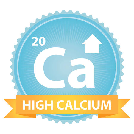 High Calcium Ribbon on Blue Badge With High Calcium Sign Isolated on White Background photo
