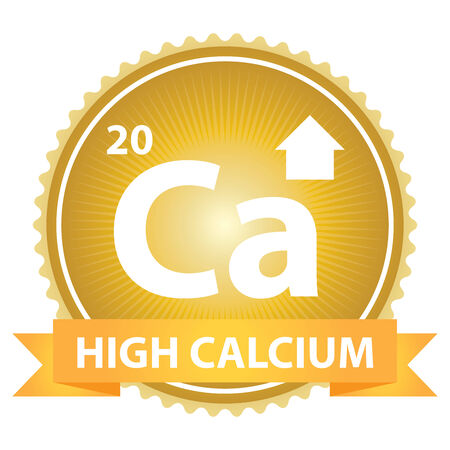 High Calcium Ribbon on Gold Badge With High Calcium Sign Isolated on White Background photo