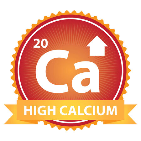 High Calcium Ribbon on Red Badge With High Calcium Sign Isolated on White Background Stock Photo