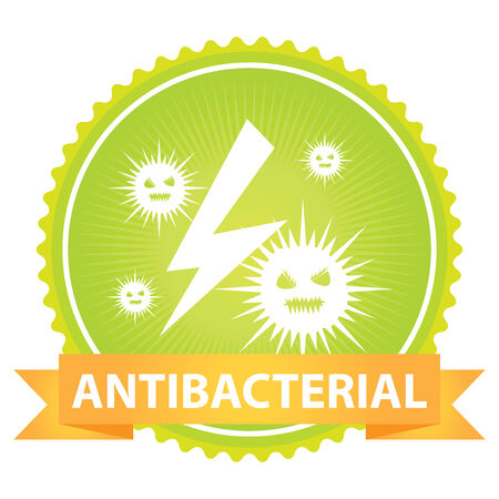 anti bacterial: Green Badge With Antibacterial Text and Bacteria Sign Isolated on White Background Stock Photo