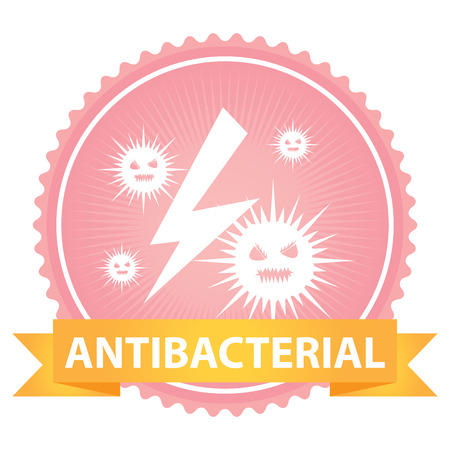 disinfectant: Pink Badge With Antibacterial Text and Bacteria Sign Isolated on White Background