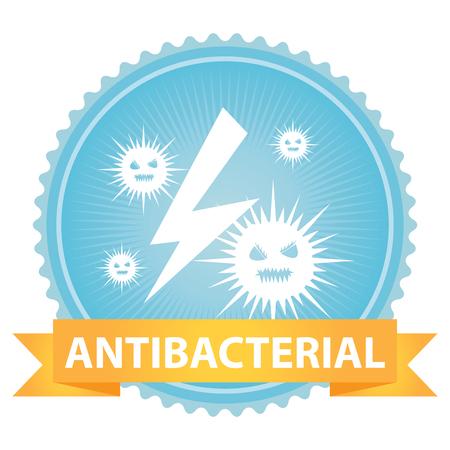 항균 텍스트와 박테리아 서명 흰색 배경에 고립 된 블루 배지에 리본 스톡 콘텐츠 - 33998092