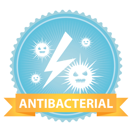 anti bacterial: Ribbon on Blue Badge With Antibacterial Text and Bacteria Sign Isolated on White Background Stock Photo