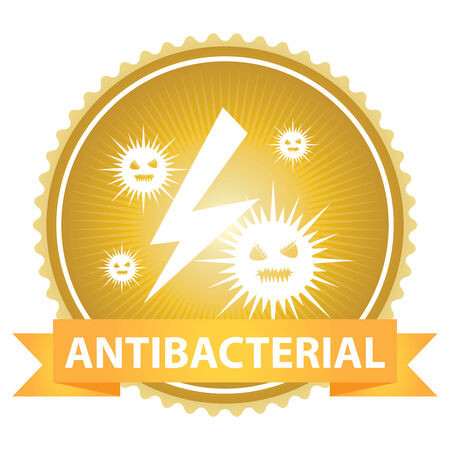 antibacterial: Ribbon on Gold Badge With Antibacterial Text and Bacteria Sign Isolated on White Background Stock Photo