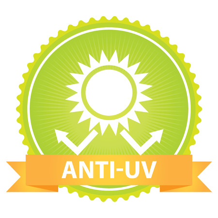 Green Badge With Anti-UV Text, Sun Protection Sign Isolated on White Background