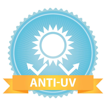 ultraviolet: Blue Badge With Anti-UV Text, Sun Protection Sign Isolated on White Background
