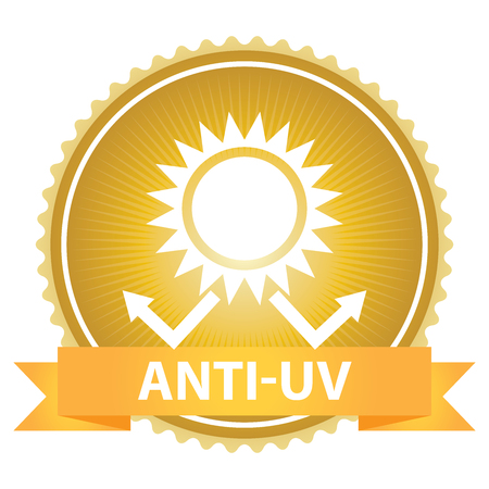 skin burns: Gold Badge With Anti-UV Text, Sun Protection Sign Isolated on White Background Stock Photo
