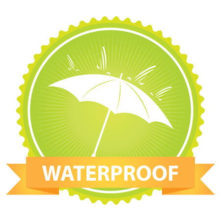 rainproof: Green Badge With Waterproof Text, Umbrella and Rain Sign Isolated on White Background