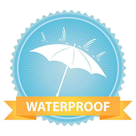 rainproof: Blue Badge With Waterproof Text, Umbrella and Rain Sign Isolated on White Background