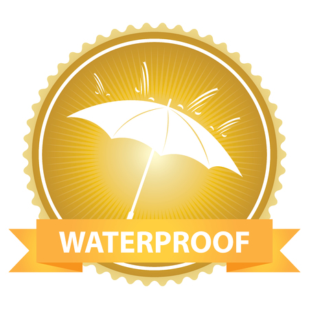 rainproof: Gold Badge With Waterproof Text, Umbrella and Rain Sign Isolated on White Background