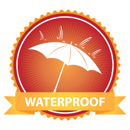 rainproof: Red Badge With Waterproof Text, Umbrella and Rain Sign Isolated on White Background Stock Photo