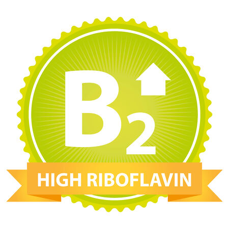 riboflavin: Tag, Sticker or Badge For Healthy, Weight Loss, Diet or Fitness Product Present By High Riboflavin Ribbon on Green Badge With High Vitamin B2 Sign Isolated on White Background Stock Photo