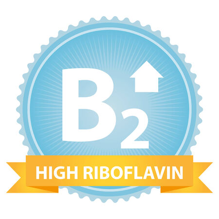 riboflavin: High Riboflavin Ribbon on Blue Badge With High Vitamin B2 Sign Isolated on White Background