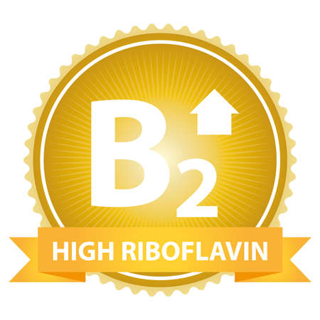 riboflavin: High Riboflavin Ribbon on Gold Badge With High Vitamin B2 Sign Isolated on White Background