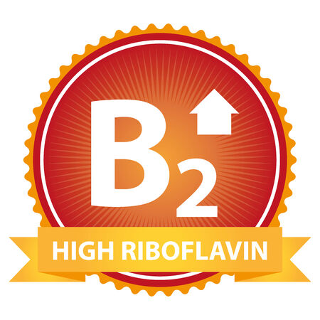 riboflavin: High Riboflavin Ribbon on Red Badge With High Vitamin B2 Sign Isolated on White Background Stock Photo