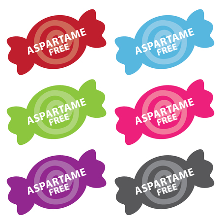 aspartame: Colorful Candy Icon With Aspartame Free Sign Isolated on White Background Stock Photo