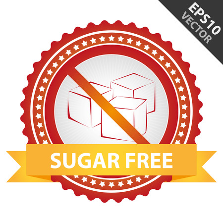 Red Badge With No Sugar Added Sign and Sugar Free Ribbon Isolated on White Background Vector