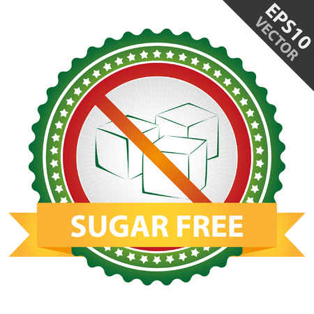 Green Badge With No Sugar Added Sign and Sugar Free Ribbon Isolated on White Background Vector