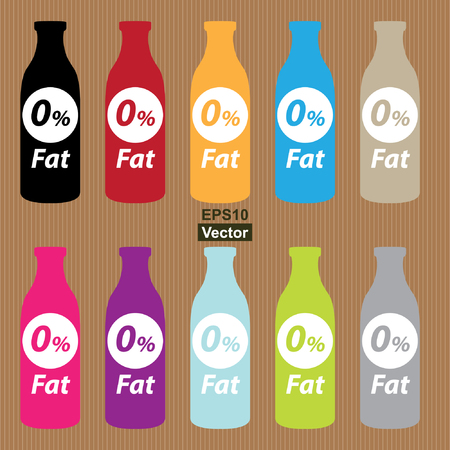 low cal: Colorful Fat Free Bottle Icon in Brown Background