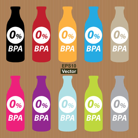 bpa: Colorful 0 Percent BPA Bottle Icon in Brown Background Illustration
