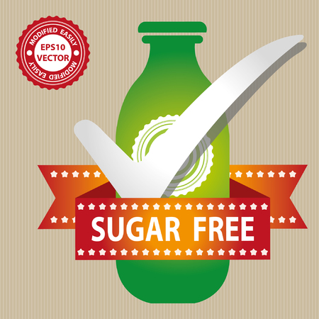 low cal: Green Bottle Sign With Check Mark and Sugar Free Ribbon in Brown Background Illustration