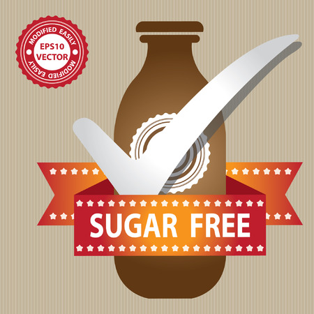 Brown Bottle Sign With Check Mark and Sugar Free Ribbon in Brown Background