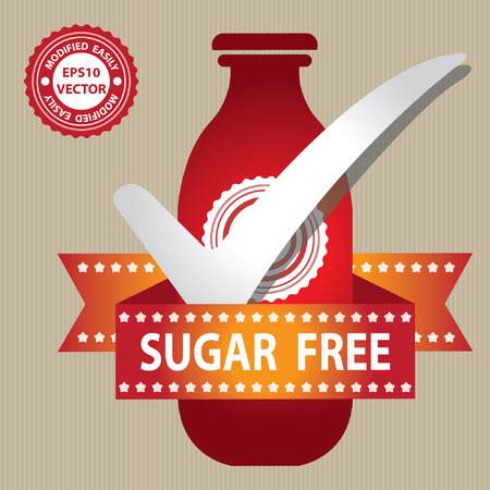 Red Bottle Sign With Check Mark and Sugar Free Ribbon in Brown Background Illustration