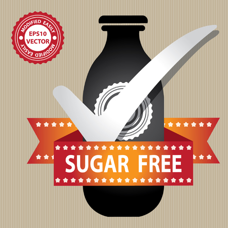 low cal: Vector : Graphic for Marketing Campaign, Product Information or Product Ingredient Concept Present By Black Bottle Sign With Check Mark and Sugar Free Ribbon in Brown Background Illustration