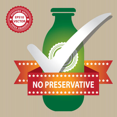 preservative: Green Bottle Sign With Check Mark and No Preservative Ribbon in Brown Background