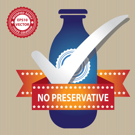 preservative: Blue Bottle Sign With Check Mark and No Preservative Ribbon in Brown Background