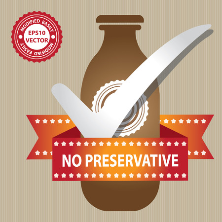 preservative: Brown Bottle Sign With Check Mark and No Preservative Ribbon in Brown Background