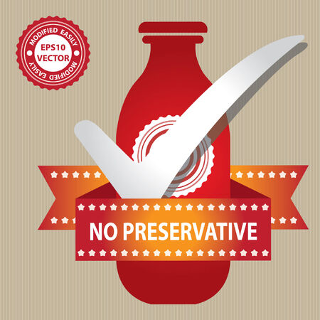 preservative: Red Bottle Sign With Check Mark and No Preservative Ribbon in Brown Background