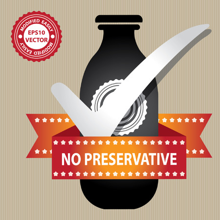 Black Bottle Sign With Check Mark and No Preservative Ribbon in Brown Background Vector