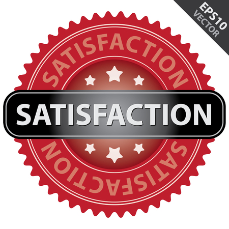 quality assurance: Vector : Quality Management Systems, Quality Assurance and Quality Control Concept Present By Red Glossy Style Satisfaction Icon Isolated on White Background