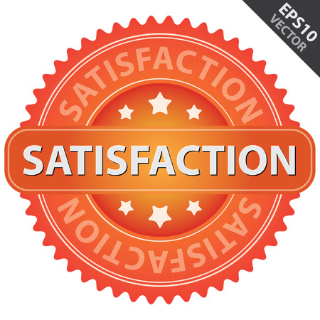 quality assurance: Vector : Quality Management Systems, Quality Assurance and Quality Control Concept Present By Orange Glossy Style Satisfaction Icon Isolated on White Background