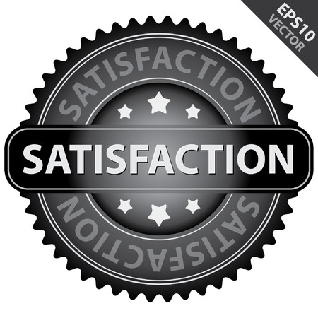 quality assurance: Vector : Quality Management Systems, Quality Assurance and Quality Control Concept Present By Black Glossy Style Satisfaction Icon Isolated on White Background