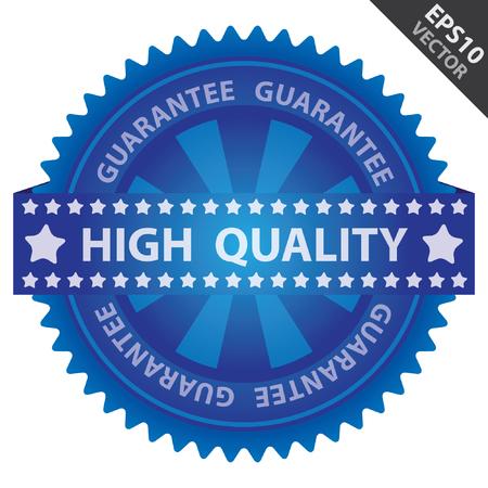 management qualit�: Vecteur: Qualit� Management Systems, l'assurance qualit� et de contr�le de qualit� Concept Pr�sent Par Badge Vert brillant Avec Blue Label de qualit� avec garantie du texte autour isol� sur fond blanc