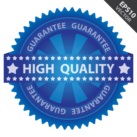 Vector : Quality Management Systems, Quality Assurance and Quality Control Concept Present By Green Glossy Badge With Blue High Quality Label With Guarantee Text Around Isolated on White Background