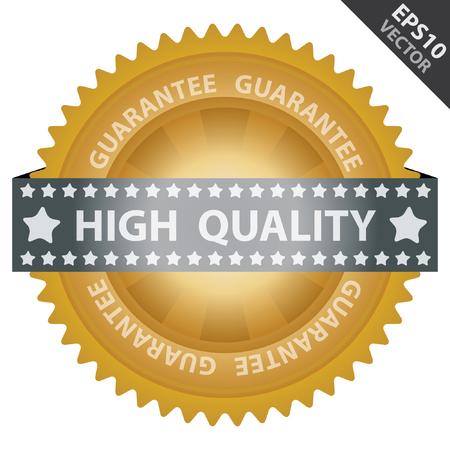management qualit�: Vecteur: Qualit� Management Systems, l'assurance qualit� et de contr�le de qualit� Concept Pr�sent Par Badge Vert brillant Avec Gold Label de qualit� avec garantie du texte autour isol� sur fond blanc Illustration