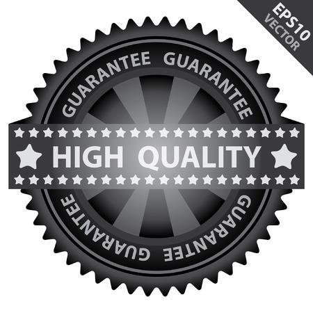 management qualit�: Vecteur: Qualit� Management Systems, l'assurance qualit� et de contr�le de qualit� Concept Pr�sent Par Badge Glossy Black Label Vert Avec de haute qualit� avec garantie du texte autour isol� sur fond blanc Illustration