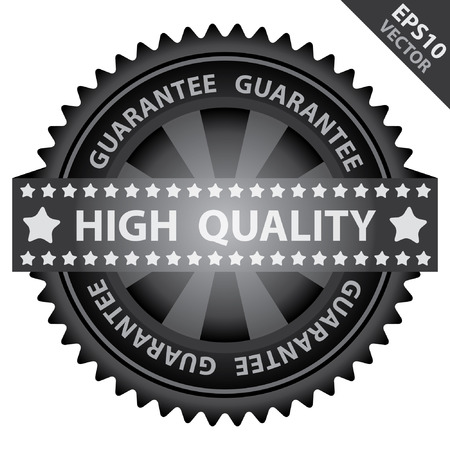 quality assurance: Vector : Quality Management Systems, Quality Assurance and Quality Control Concept Present By Green Glossy Badge With Black High Quality Label With Guarantee Text Around Isolated on White Background Illustration
