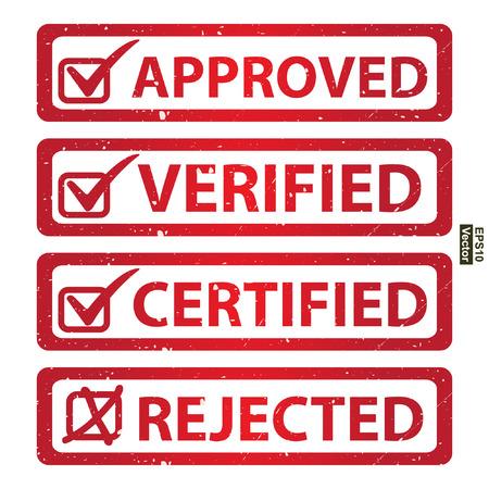 management qualit�: Vecteur: Qualit� Management Systems, l'assurance qualit� et de contr�le de qualit� Concept Pr�sent Par Red Grunge style brillant approuv�, v�rifi�, certifi� et de l'Ic�ne Rejet� isol� sur fond blanc Illustration