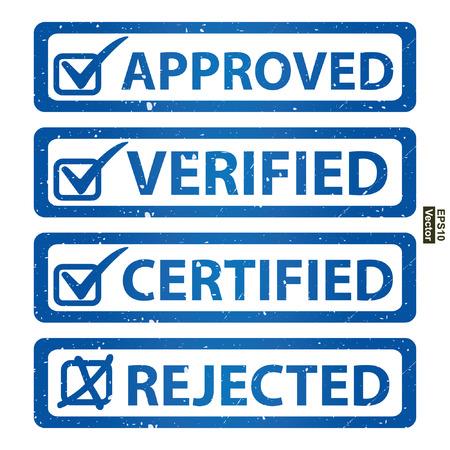 management qualit�: Vecteur: Qualit� Management Systems, l'assurance qualit� et de contr�le de qualit� Concept Pr�sent Par Blue style grunge Glossy approuv�, v�rifi�, certifi� et de l'Ic�ne Rejet� isol� sur fond blanc Illustration