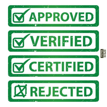 management qualit�: Vecteur: Qualit� Management Systems, l'assurance qualit� et de contr�le de qualit� Concept Pr�sent Par Green Grunge style brillant approuv�, v�rifi�, certifi� et de l'Ic�ne Rejet� isol� sur fond blanc
