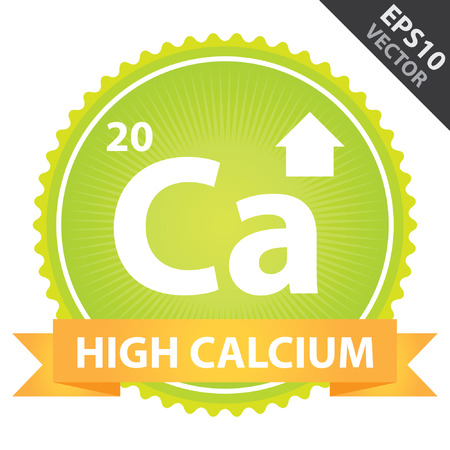 Vector : Tag, Sticker or Badge For Healthy, Weight Loss, Diet or Fitness Product Present By Orange High Calcium Ribbon on Green Badge With High Calcium Sign Isolated on White Background Vector