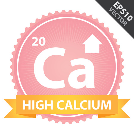 Vector : Tag, Sticker or Badge For Healthy, Weight Loss, Diet or Fitness Product Present By Orange High Calcium Ribbon on Pink Badge With High Calcium Sign Isolated on White Background Vector